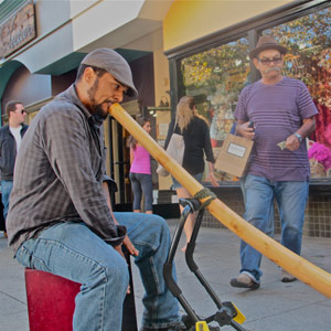 Thomas Sage has been making a living performing on Pacific Avenue for three years, but his didgeridoo doesn't fit into the space limitations of a new downtown ordinance.
