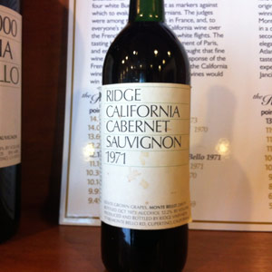 """The Ridge Vineyards vintage that made California Cabernet Sauvignon a phenomenon by beating the French in 1976. Friday's """"Premier Cruz"""" event salutes Ridge and other Santa Cruz Mountain Cabs."""