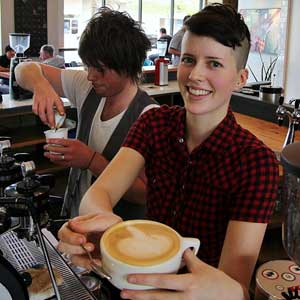 Astrid Anderson of Verve, which takes top honors for best coffeehouse. Photo by Chip Scheuer