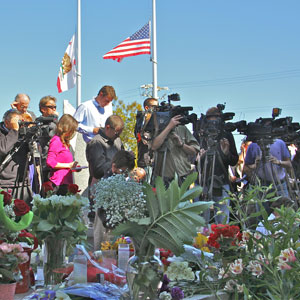 Media coverage last week after the shooting of two officers by Jeremy Peter Goulet. Photo by Chip Scheuer.