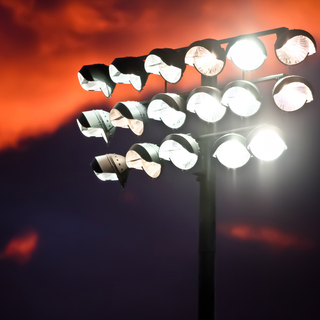 Football Stadium Night Lights: Harbor High Football Fans Look For Light