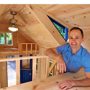 Jason Dietz at work on an eco-friendly 'tiny house' for Felton's Molecule Tiny Homes.