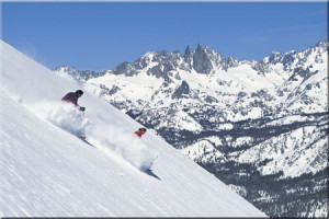 Skiers at Mammoth Mountain Resort.