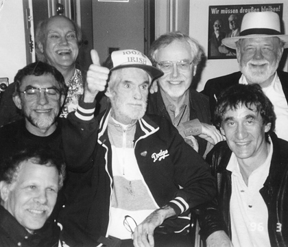 The 1996 reunion. Ram Dass is in the upper left corner, Santa Cruzan Paul Lee in the upper right. Photo Courtesy of Paul Lee.