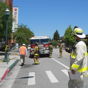 Rob Young at the scene of the gas leak on Front Street. (Jacob Pierce)