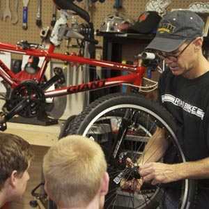Bobby D. Richardson gives students a balanced education in his Bike Tech classes. Photo by Dain Zaffke.