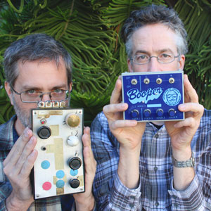 Two members of Negativland with some of the band's equipment. The group brings its 'greatest hits' show to the Crepe Place on Feb. 26.