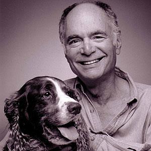 Robert Sward, Santa Cruz Weekly poetry editor, with Toby