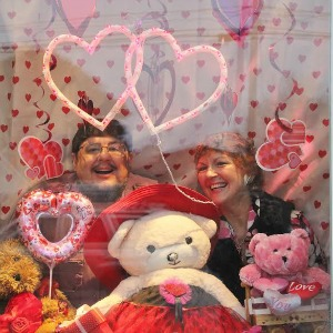 Richard and Nanette Stauff maintain the most talked-about window displays in Seabright—currently for Valentine's Day, of course. Photo by Chip Scheuer.