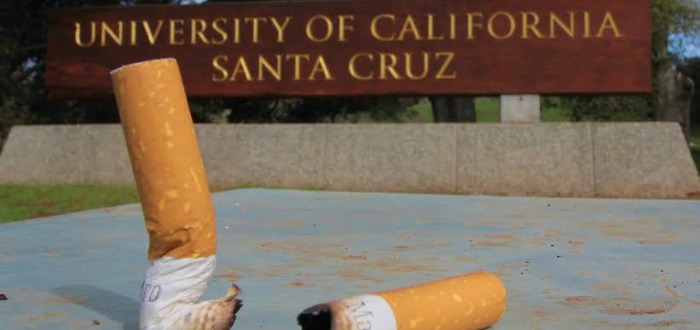 UCSC's ban on smoking includes not only cigarettes, but also e-cigarettes and chewing tobacco, part of a shift toward limiting the health-care costs created by primary users. Photo by Chip Scheuer.