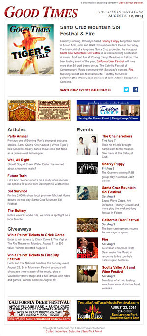 SantaCruz.com Sample Newsletter